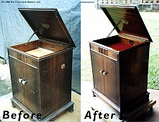 Old Victrola manual phonograph cabinet restored using only Dr. Woodwell's Wood Elixir