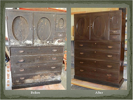 Japanese Tansu restored without any sanding